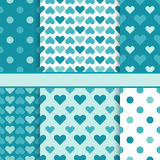 Vector set of seamless green bright vector patterns (tiling) Royalty Free Stock Photos