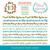 Vector set of seamless hand-drawn floral borders. Royalty Free Stock Images