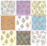 Vector set  seamless leaves patterns. Royalty Free Stock Photo