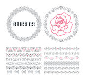 Vector set of seamless line ornaments Stock Images