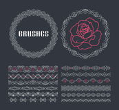 Vector set of seamless line ornaments Royalty Free Stock Image
