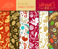 Vector set of seamless love patterns. Stock Photos
