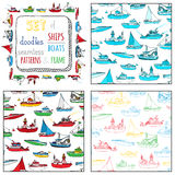 Vector set of seamless marine patterns and frame. Royalty Free Stock Photos