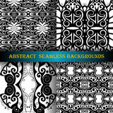 Vector Set of 4 Seamless Monochrome Abstract Pattern Royalty Free Stock Photos