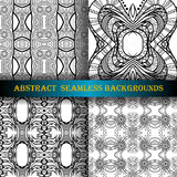 Vector Set of 4 Seamless Monochrome Abstract Pattern Royalty Free Stock Photo