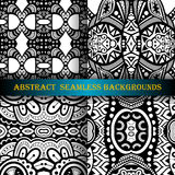 Vector Set of 4 Seamless Monochrome Abstract Pattern Royalty Free Stock Photography