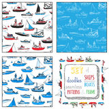 Vector set of seamless nautical patterns and frame. Stock Images