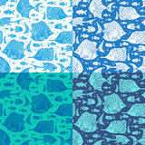 Vector set of seamless ocean patterns. Stock Image