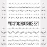 Vector set of seamless ornate and floral brushes. Royalty Free Stock Images