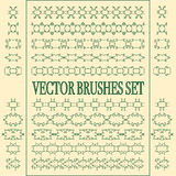 Vector set of seamless ornate and floral brushes. Stock Photos