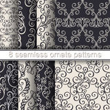 Vector Set of 8 Seamless Ornate Patterns Stock Images