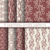 Vector Set of 8 Seamless Ornate Patterns Stock Photography