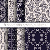 Vector Set of 8 Seamless Ornate Patterns Royalty Free Stock Photos