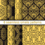 Vector Set of 8 Seamless Ornate Patterns Royalty Free Stock Image