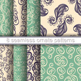 Vector Set of 8 Seamless Ornate Patterns Stock Image