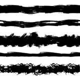 Vector Set of Seamless Painr Drawn Stipes, Brush Strokes, Black Ink Splatters. vector illustration