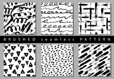 Vector Set of seamless pattern with brush stripes and strokes. Black color on white background. Hand painted grange. Texture. Ink geometric elements. Fashion royalty free illustration