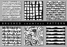 Vector Set of seamless pattern with brush stripes and strokes. Black color on white background. Hand painted grange. Texture. Ink geometric elements. Fashion stock illustration