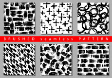 Vector Set of seamless pattern with brush stripes and strokes. Black color on white background. Hand painted grange. Texture. Ink geometric elements. Fashion vector illustration