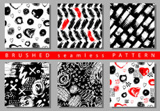 Vector Set of seamless pattern with brush stripes and strokes. Black red color on white background. Hand painted grange. Texture. Ink geometric elements vector illustration