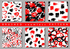 Vector Set of seamless pattern with brush stripes and strokes. Black red color on white background. Hand painted grange. Texture. Ink geometric elements royalty free illustration