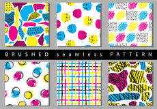 Vector Set of seamless pattern with brush stripes and strokes. Yellow pink blue color on background. Hand painted grange Royalty Free Stock Photos