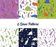 Vector set of seamless pattern with dinosaurs. Vector set of seamless pattern with fern leaves, bushes and dinosaurs, hand drawn vector backgrounds Stock Images
