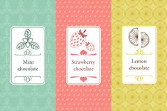 Vector set of seamless pattern and labels for chocolate Royalty Free Stock Images