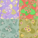 vector Set seamless pattern lotus Stock Photography
