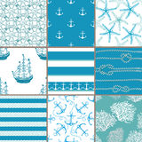Vector set. Seamless pattern with marine elements. Stock Photography