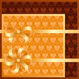 Vector set of seamless patterns and bows. Vector gold and brown seamless patterns and bows Royalty Free Stock Photos