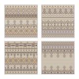Vector set of seamless patterns. Ethnic tribal geometric texture Stock Photos