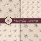 Vector set of seamless patterns with floral elements. Royalty Free Stock Photography
