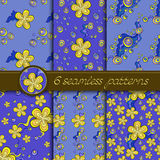 Vector set of seamless patterns with floral elements Stock Photography
