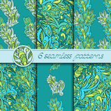 Vector set of seamless patterns with floral elements Royalty Free Stock Images
