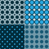 Vector set of seamless patterns with flowers. Royalty Free Stock Image