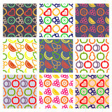 Vector set of seamless patterns with fruits. Stock Photos