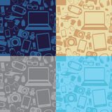 Vector set of seamless patterns with gadgets with technology ico Royalty Free Stock Photos