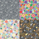 Vector set of 4 seamless patterns with gears and cogwheels Stock Photo