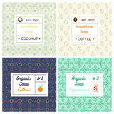 Vector set of seamless patterns for handmade soap. Linear design templates for most popular soap recipes: coconut milk, peppermint, citrus and coffee. With stock illustration