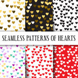 Vector set of seamless patterns with hearts. Perfect for Valentine's day, weddings or romantic gifts. Set different colors: gold, pink, black, red, and Royalty Free Stock Photo