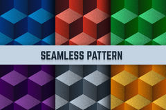 Vector set of seamless patterns. Isometric cubes dotted different colors. Royalty Free Stock Photo