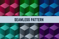 Vector set of seamless patterns. Isometric cubes dotted different colors. Stock Photos