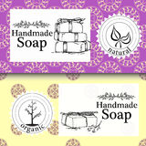 Vector set of seamless patterns, labels and logo design templates for hand made soap packaging and wrapping paper Royalty Free Stock Photos
