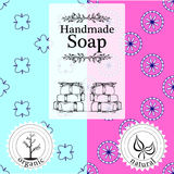 Vector set of seamless patterns, labels and logo design templates for hand made soap packaging and wrapping paper Royalty Free Stock Photo