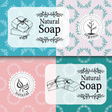 Vector set of seamless patterns, labels and logo design templates for hand made soap packaging and wrapping paper Royalty Free Stock Image