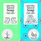 Vector set of seamless patterns, labels and logo design templates for handmade natural soap packaging and wrapping paper Stock Photo