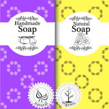 Vector set of seamless patterns, labels and logo design templates for handmade natural soap packaging and wrapping paper Stock Image