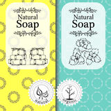 Vector set of seamless patterns, labels and logo design templates for handmade natural soap packaging and wrapping paper Royalty Free Stock Photography