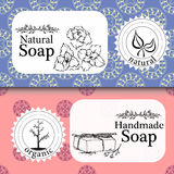 Vector set of seamless patterns, labels and logo design templates for handmade natural soap packaging and wrapping paper Royalty Free Stock Images